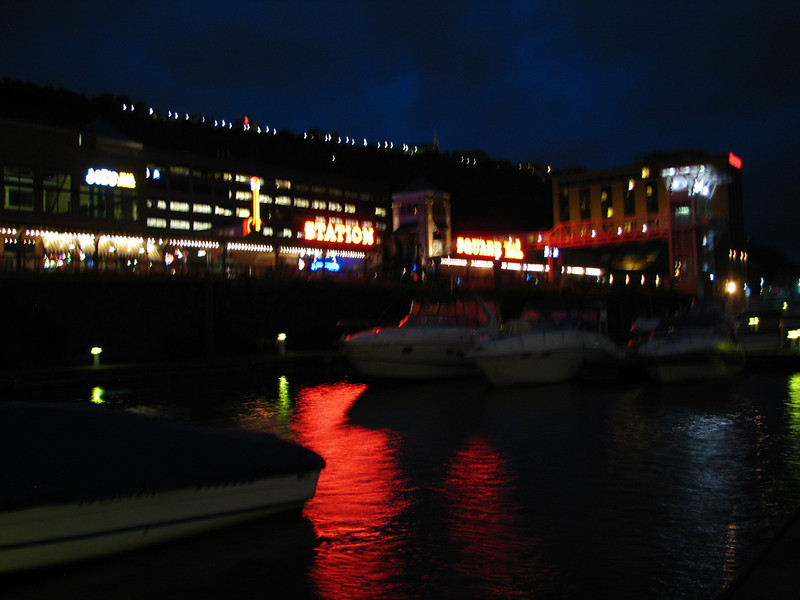 Station Square at night.