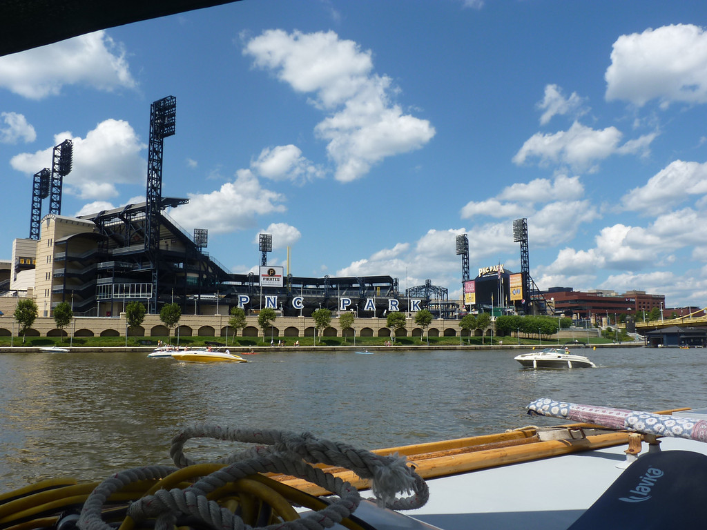 PNC Park, home of Pittsburgh Pirates, with active riverfront.  (photo by Brian)