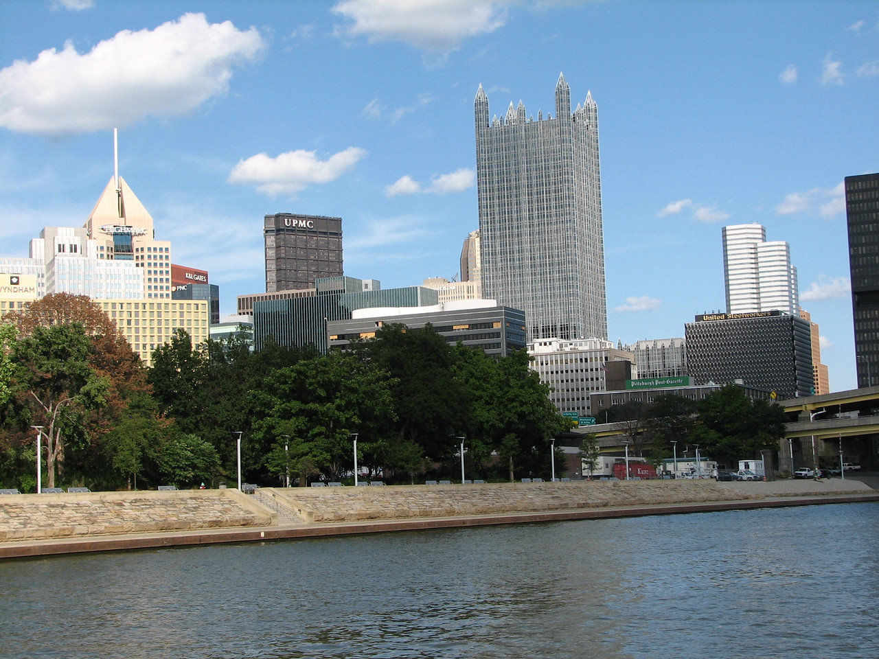 The downtown skyline from the Monongahela side of the point.  The large fountain at the round pool is closed for major repair work.