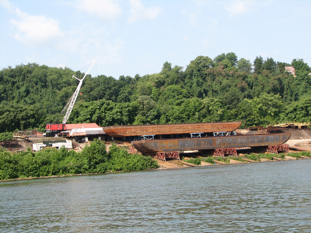 Dry dock for constructing new barges.