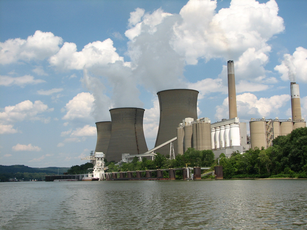 Cooling towers of a power plant along the Ohio River.