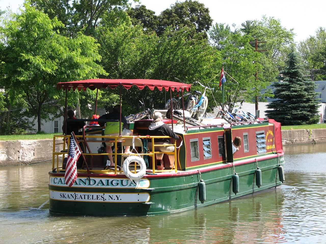The Canandaigua was rented by a family of two grandparents, two parents, and two kids.  (See one peering out the starboard hatch.)