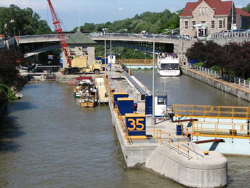 Lock 35 in Lockport with a cruise boat about to be left down.  The crane was used to remove debris from the spillway.