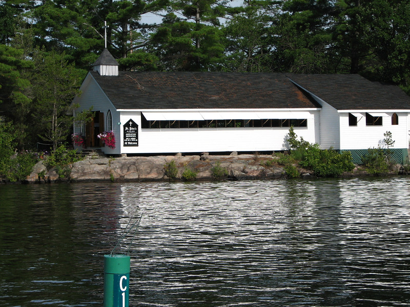 This church has two worship services on Sunday mornings.  Most worshipers come by boat.