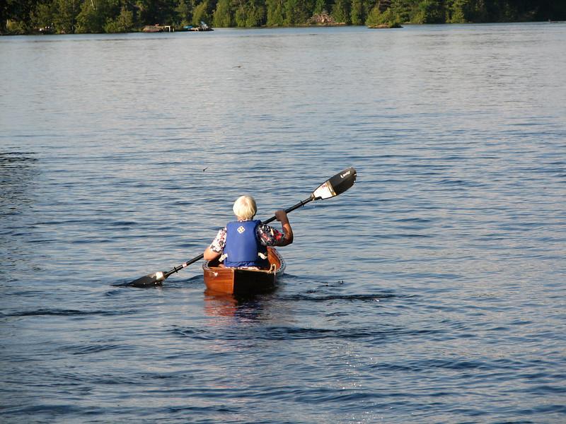 Linda goes exploring in her canoe.