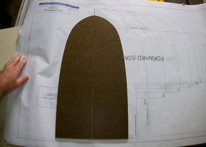 I purchased a set of 1:1 plans from Bear Mountain Boats in Canada for a 15' Freedom Canoe.  The first step is to cut the molds over-which the cedar strips will be glued to create the hull.  To ease the pain of cutting each station mold by hand, I devised a plan for creating a template of each mold.  I used 3/8 inch hardboard for the template as it is extremely easy to work.