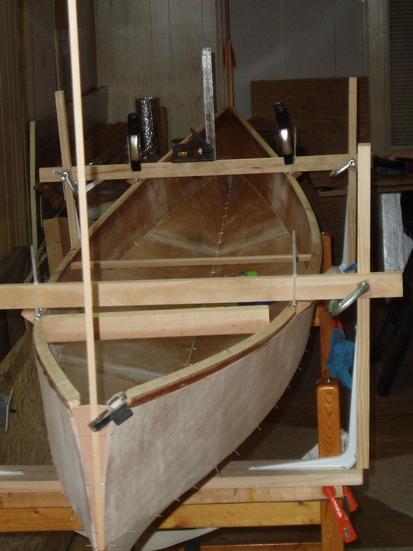 Making sure the hull is square before tabbing viewed from the stern.