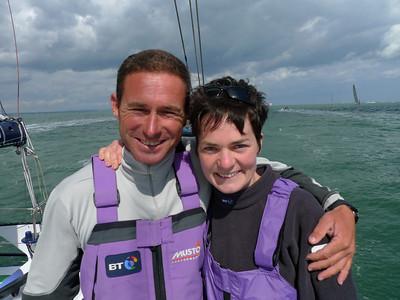 Sebastien Josse with Ellen MacArthur, Isle of Wight, Round the Island Race, June 2009.