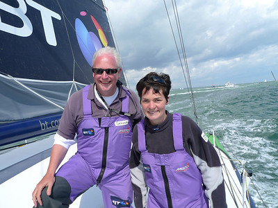 Richard Donkin with Ellen MacArthur, Round the Island Race, Isle of Wight, 2009.