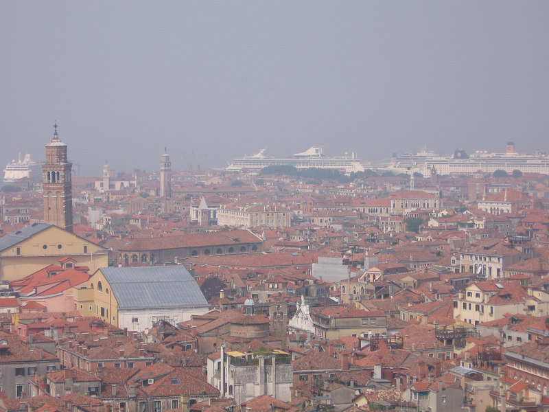 View of Venice's cruise terminal from the Campanile.