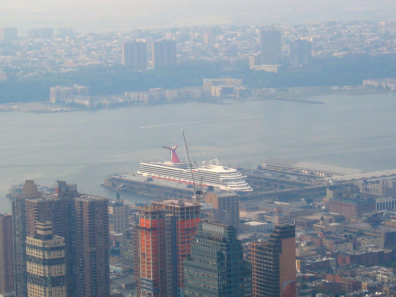 Carnival Cruise ship on the West Side of Manhattan, taken from the Empire State Building