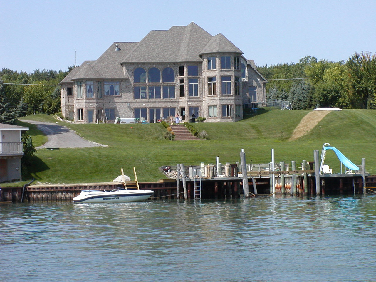 Properties on the American side of the St. Clair river range from small beach-front cabins to stately mansions.