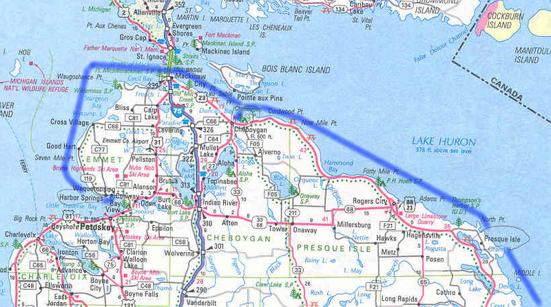 By the time I joined this adventure, Lynn Miller had already traveled one hundred miles up the Michigan coast. He is the owner and builder of the Linda Jean, a Chesapeake Bay style Skipjack.<br /> <br /> This map shows our course for the days of August five and six.  We left Harbor Springs, passed under the Mackinaw bridge and made the port in Cheboygan in good time.  The next day we sailed to Presque Isle, again fortunate to have very favorable winds.