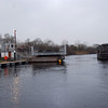 """Arthur"" proceeds through bridge to commence submarine sweeping exercise on Lough Derg..."