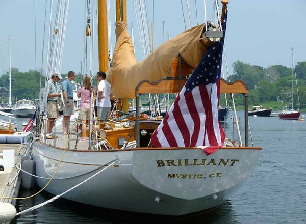 "The schooner Brilliant, tied up in Southport Harbor, its original homeport. Once owned by late Southporter Briggs Cunningham, the vessel is now maintained by Mystic Seaport and used for annual training programs. Photo: Contributed Photo/Mike Lauterborn (Source: <a href=""http://www.fairfieldcitizenonline.com/news/article/Southport-Harbor-visitor-still-Brilliant-after-1407934.php"">http://www.fairfieldcitizenonline.com/news/article/Southport-Harbor-visitor-still-Brilliant-after-1407934.php</a>)"