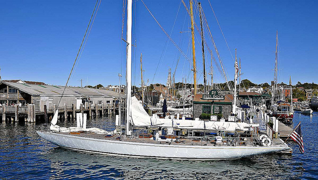 """Columbia, First 12-meter America's Cup Winner. Arguably, the fastest 12-meter yacht in the world. First 12-meter to win the America's Cup and the first 12-meter with a winged keel to win the Cup. (Source: <a href=""""http://www.flickr.com/photos/deuce00/5081389509/"""">http://www.flickr.com/photos/deuce00/5081389509/</a>)"""