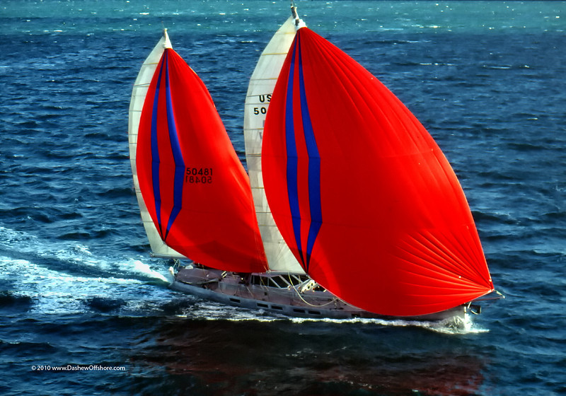 Beowulf with  6000 square feet of cruising sails set.