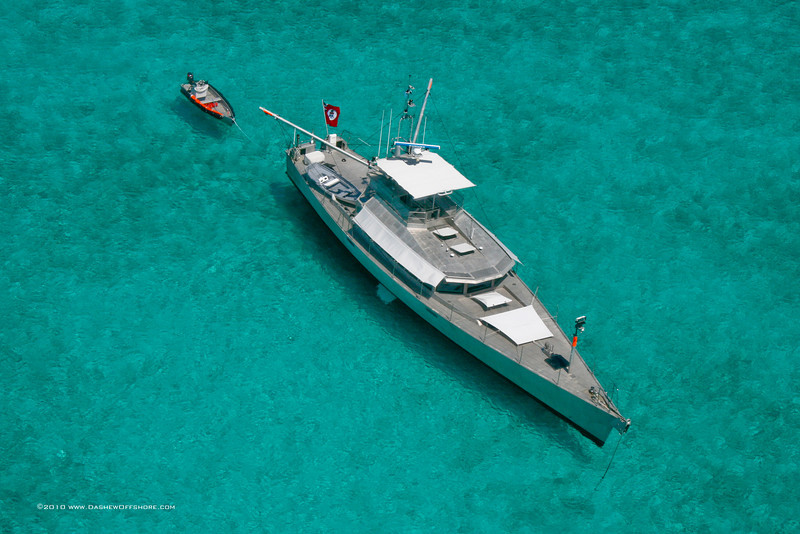FPB 83 Wind Horse anchored in the Bahamas, 2008
