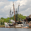 Burned Bryan & Shane Shrimp Boat in East River in Downtown Brunswick, Georgia