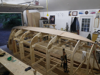 Starboard side view, garboard epoxied on