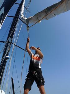 Dave Thomson on a sail hoist.