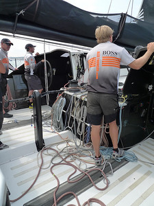 Rob Greenhalgh helming with Alex Thomson (right)
