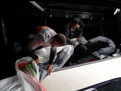 Packing the spinnaker.