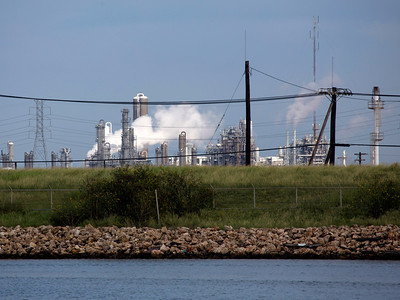 Refineries across the Old Brazos River from the Ferrel