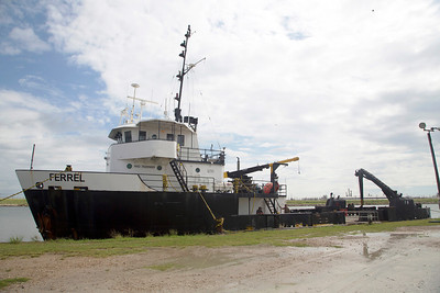 The research vessel, Ferrel, Moored on the Old Brazos River in Freeport, TX