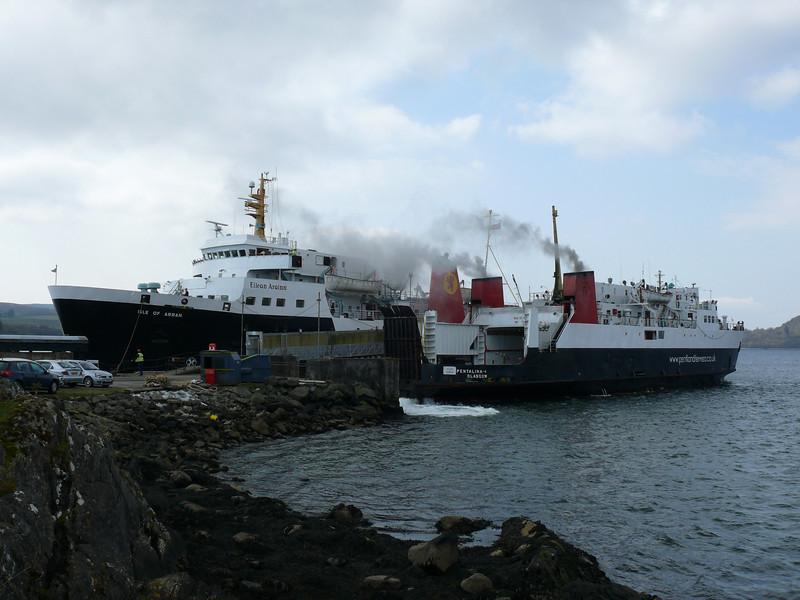 ISLE OF ARRAN and PENTALINA B at Kennacraig.<br /> 17th April 2009.