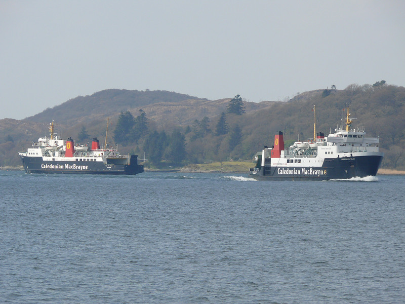 ISLE OF ARRAN and HEBRIDEAN ISLES pass in West Loch Tarbert.<br /> 17th April 2009.