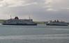 Stena Navigator and Stena Caledonia pass in Loch Ryan.<br /> 30th May 2011.