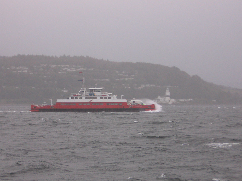 SOUND OF SANDA battling the seas near Cloch Lighthouse.