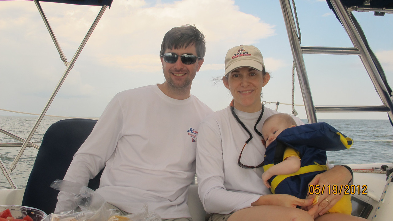 Peter, Beth and Gus Hopkins - first cruise for Baby boy Gus - 4 months.