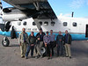 Group shot with the research team before loading the plane (Sergei, Donald, Paul, Kent, Dale, Phil, Paul)