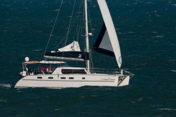 Catamaran Sabbatique off the coast of Flagler Beach, FL on 2/10/2016