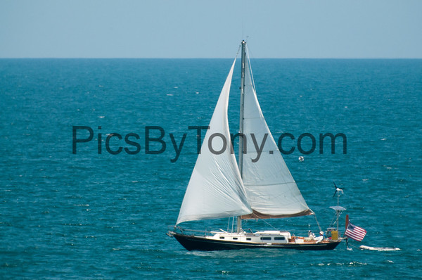 Sailboat Spirit off the coast of Flagler Beach, FL on July 29, 2016