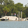 Gisco Dock Collapse on the Frederica River just off the ICW (Intracoastal Waterway) across from the Morningstar Golden Isles Marina on 08-24-12