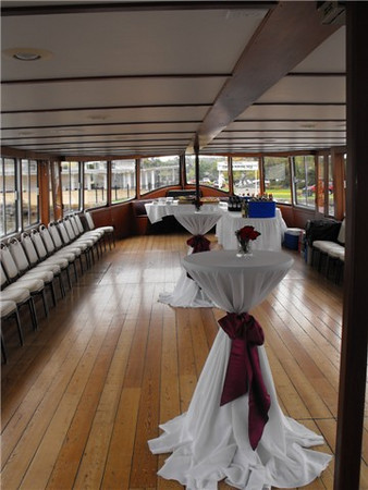 Cocktail setup aboard main deck of the Grand Belle.
