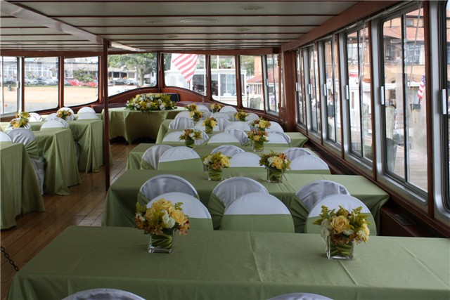 sit down table setting on the Grand Belle's main deck.
