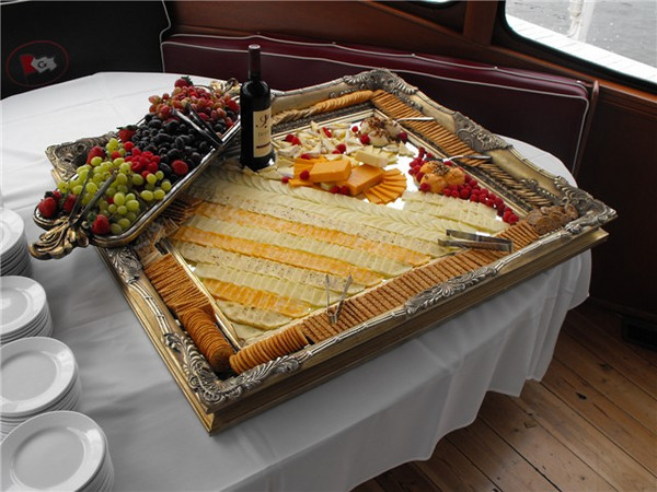 Appetizer tray on the head table aboard the Grand Belle.