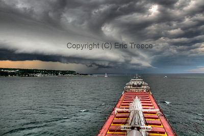 Shelf cloud approaching the Wilfred Sykes on August 7, 2011 near Mackinac Island.
