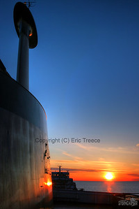 SS Edward L. Ryerson heads into the setting sun on Lake Superior.