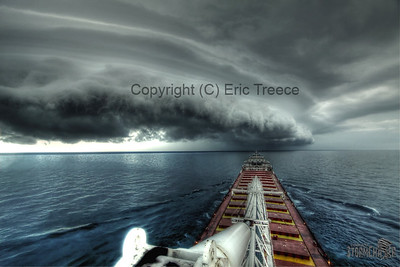 Shelf cloud approaching the Wilfred Sykes on August 7, 2011 on Southern Lake Michigan.