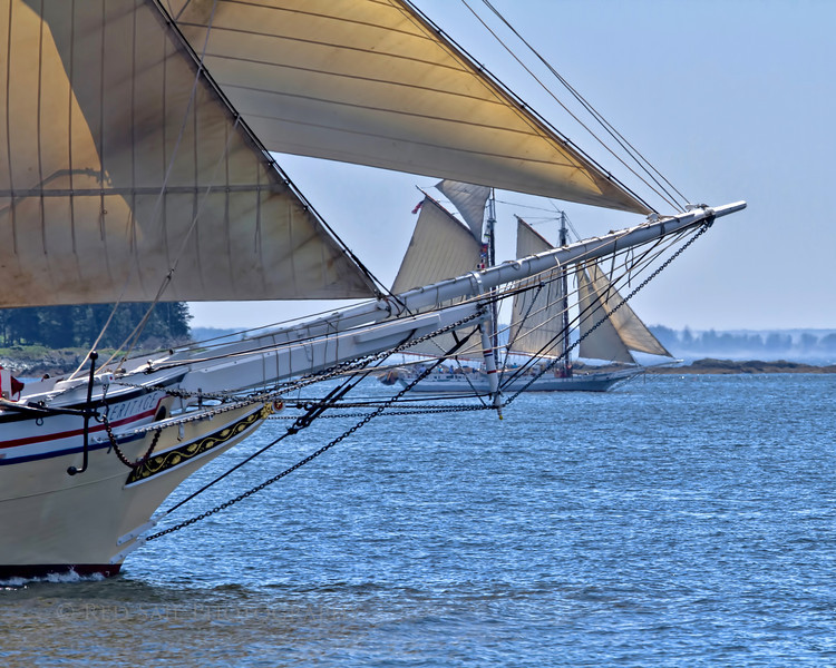 Schooner Heritage with the Isaac H. Evans in the distance.