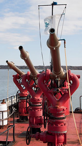 Three water cannons from the FDNY Fire Fighter docked in Greenport, NY for restoration.