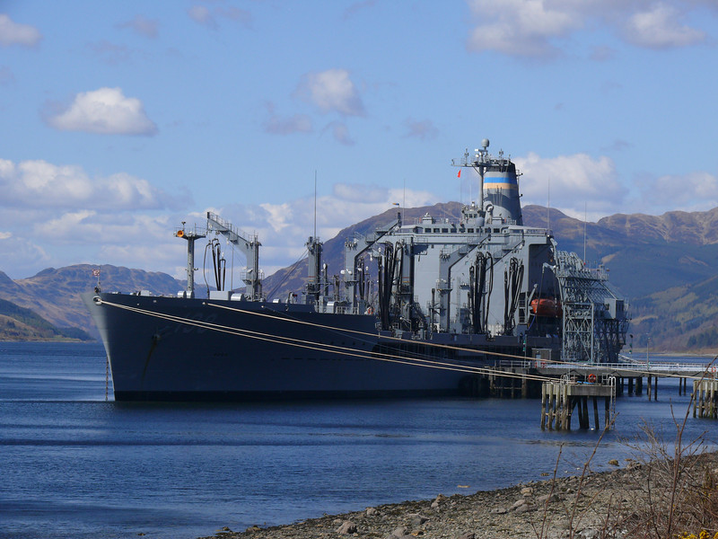 USNS BIG HORN at the NATO jetty, Loch Striven.<br /> 17th April 2008