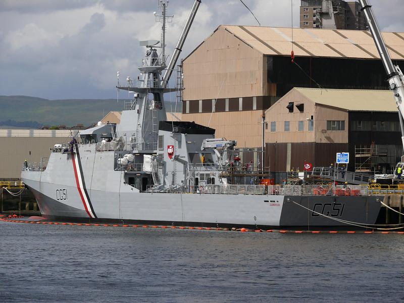 New Trinidad and Tobago Coast Guard vessel SCARBOROUGH at Scotstoun.<br /> 8th July 2010.