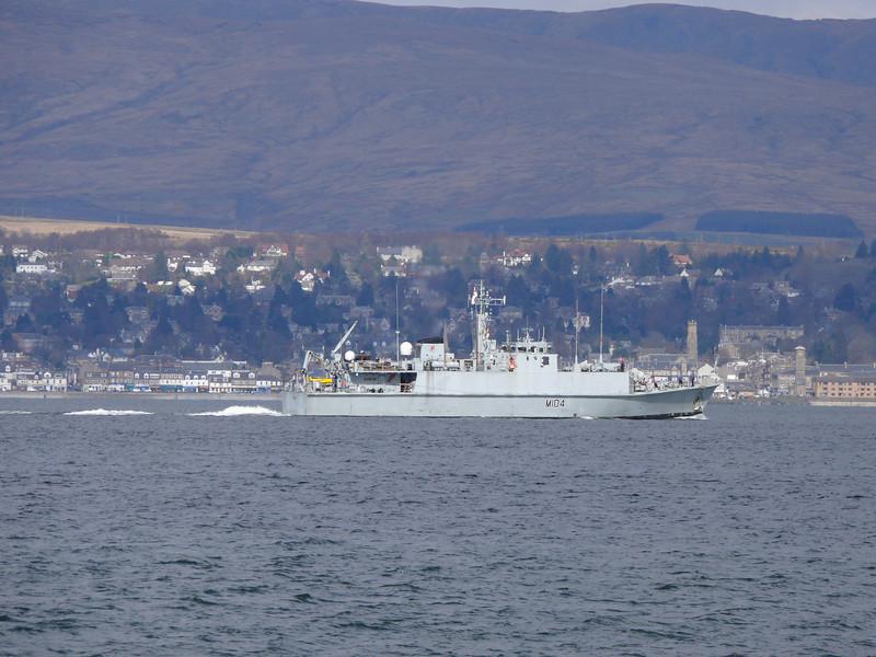 HMS WALNEY (M104) off Greenock Esplanade.<br /> 10th April 2008
