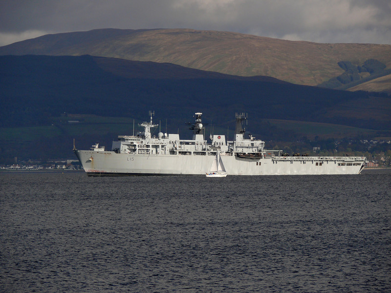 HMS Bulwark off Greenock Esplanade.<br /> 16th October 2011